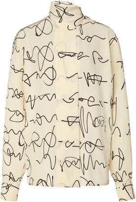 Victoria Beckham Printed Scarf-Embellished Silk Top