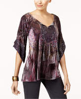 Style&Co. Style & Co Petite Printed Velvet Peasant Top, Created for Macy's