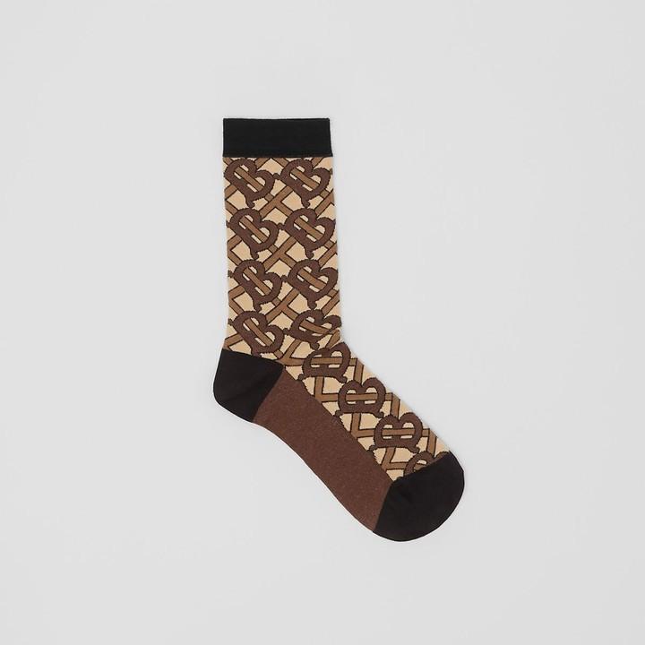 Burberry Monogram Intarsia Cotton Blend Socks