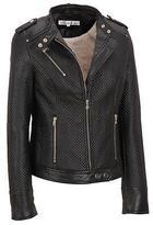 Wilsons Leather Womens Web Buster Faux-Leather Scuba Jacket W/ Zips