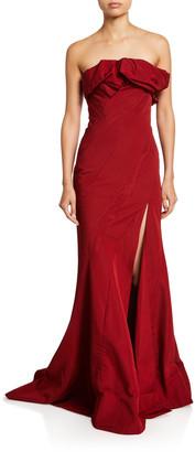 Oscar de la Renta Ruffled Taffeta Strapless Gown