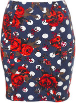 Spot Floral Bodycon Skirt
