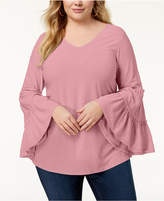 NY Collection Plus Size Ruffled-Sleeve Top