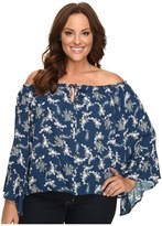 Christin Michaels Plus Size Iris Off the Shoulder Top with Front Tie Women's Clothing