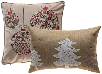 14 Karat Home Inc. Red & Silver Ornaments & White Christmas Tree Pillow Covers, Set of 2