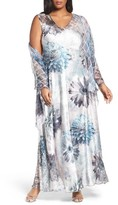 Komarov Plus Size Women's Lace-Up Back Long Dress With Shawl