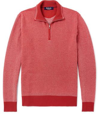 Loro Piana Roadster Striped Cashmere Half-Zip Sweater