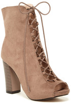 Chase & Chloe Benjamin Open Toe Lace-Up Bootie