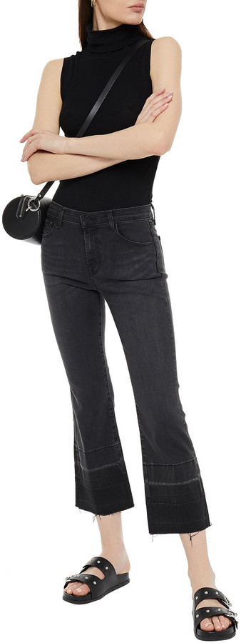 Thumbnail for your product : J Brand Selena Distressed Mid-rise Kick-flare Jeans