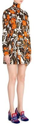 Prada Floral Turtleneck Pleat Shift Dress