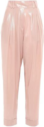 Balmain Pleated Coated-crepe Tapered Pants