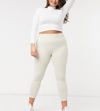 ASOS DESIGN Curve legging with deep waistband in brushed rib