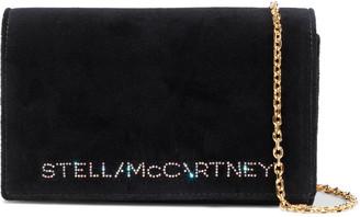 Stella McCartney Crystal-embellished Cotton-velvet Shoulder Bag