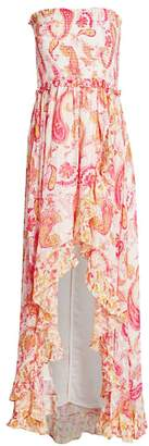 Rococo Sand Paisley Ruffle Strapless Dress