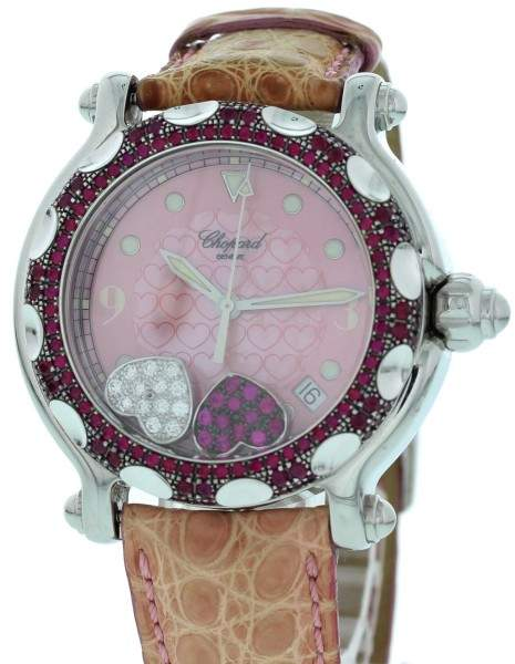 Chopard Happy Sport 28/8944-21 Stainless Steel & Leather Diamond & Rubies 38 mm Womens Watch