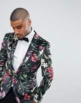 Asos Super Skinny Blazer In Floral Printed Velvet