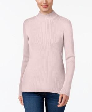 Karen Scott Cotton Ribbed Turtleneck Top, Created for Macy's