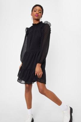 Nasty Gal Womens Chiffon My Way Ruffle Mini Dress - Black - 10