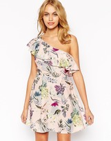 Love One Shoulder Prom Dress In Botanical Floral Print
