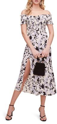 ASTR the Label Smocked Crisscross Bodice Midi Dress