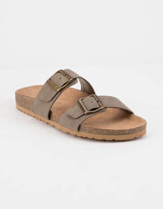 Soda Sunglasses Double Buckle Taupe Womens Slide Sandals