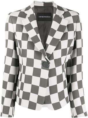 Emporio Armani Checkered Print Notched Lapel Blazer
