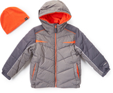 Hawke & Co Smoked Pearl & Orange Bubble Coat & Beanie - Toddler & Boys