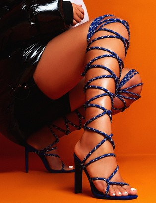 Public Desire Losin' It Extreme Lace Up Set Back High Heels