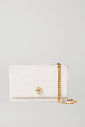 Alexander McQueen Skull Croc-effect Leather Shoulder Bag - White