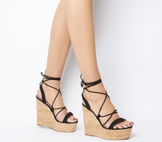 Office Hula Ghillie Chunky Wedges Black With Cork