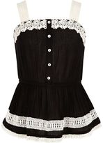 River Island Girls Black lace button-up cami top