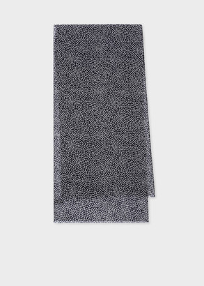 Paul Smith Men's Black Lightweight Wool Dot Print Scarf