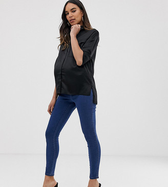 Asos DESIGN Maternity pull on jeggings in mid wash blue with under the bump waistband-Black