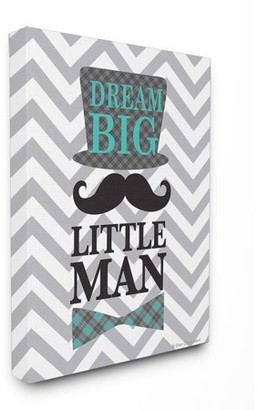 The Kids Room by Stupell Dream Big, Little Man On Grey Chevron Oversized Stretched Canvas Wall Art, 24 x 1.5 x 30
