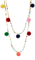 Cara Accessories Double Layer Seed Bead & Pompom Necklace
