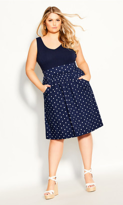 City Chic Simply Sweet Dress - navy