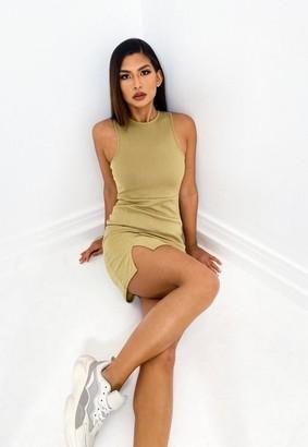 Missguided Khaki Rib Racer Neck Mini Dress