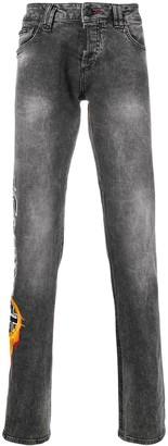Philipp Plein Gothic logo straight jeans