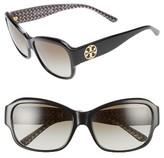 Tory Burch Women's 57Mm Gradient Sunglasses - Black/ Black White Zig Zag