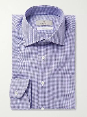 Canali Slim-Fit Cutaway-Collar Gingham Cotton-Poplin Shirt