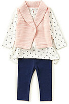 Starting Out Baby Girls 3-24 Months Star-Print Top, Solid Vest, & Leggings 3-Piece Set