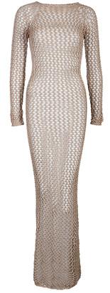 Balmain Brown Crochet Long Sleeveless Maxi Dress