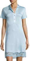 La Perla Airy Blooms Lace-Trim Sleepshirt, Light Blue