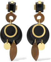 Marni Gold-tone, Perspex, Wood And Horn Clip Earrings - Black