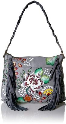 Garden of Eden Anna by Anuschka Women's Genuine Leather Medium Fringed Hobo Shoulder bag | Hand Painted Original Artwork |