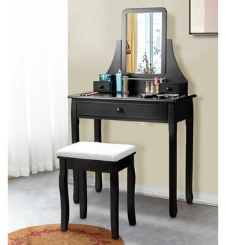 Charlton Homeâ® Hadlow Vanity Set with Stool and Mirror Charlton HomeA Color: Black
