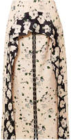 Proenza Schouler Layered Floral-print Satin-crepe Midi Skirt - Off-white