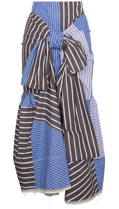 Marni multi striped tie front skirt