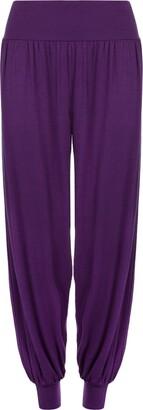 Wearall Ladies Plus Size Harem Trousers Womens Full Leggings Stretch Pants - Black 12/14