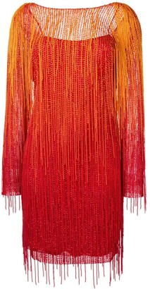 Alberta Ferretti Fringed Detail Dress